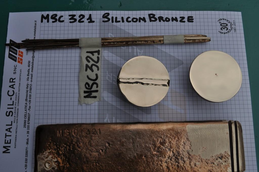 Immagine prova saldatura e bacchette bronzo al silicio